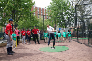 Prince Harry at the batting cage of Harlem RBI's Field of Dreams. Credit: Matt Zeigler