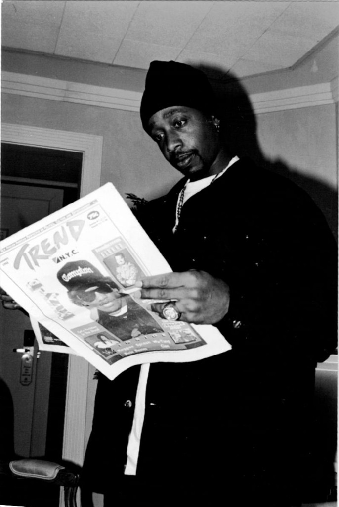 MC Hammer is pictured reading the latest issue of New York Trend during an interview.
