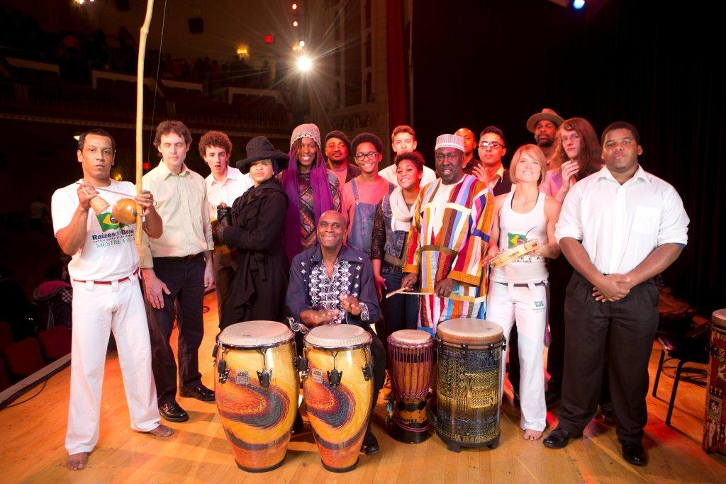Haynes, (seated center) along with other musical guests, was joined by his drumming students from the Newburgh Free Academy (NFA) at the historic theater on Broadway.  The NFA students, from upstate New York, wowed the audiences with their synchronized drumming skills.