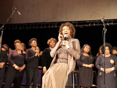 Cissy Houston sings with the McDonald's Gospel Super Choir, breaking the GUINNESS WORLD RECORD for Largest Gospel Choir.