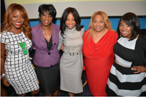 Pictured (L-R) OWN's Love In The City Bershan Shaw | NY 1 News Anchor Cheryl Wills | OWN's Love In the City Tiffany Jones | Legendary Journalist Flo Anthony | 135th Street Co-Founder Shante Bacon