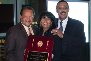 Selective Corporate Internship Program founders honor Dr. Rudy Crew, president, Medgar Evers College, for his impact on New York City education (L-R) Rudy Crew, Monica Mancebo, Miguel Mancebo