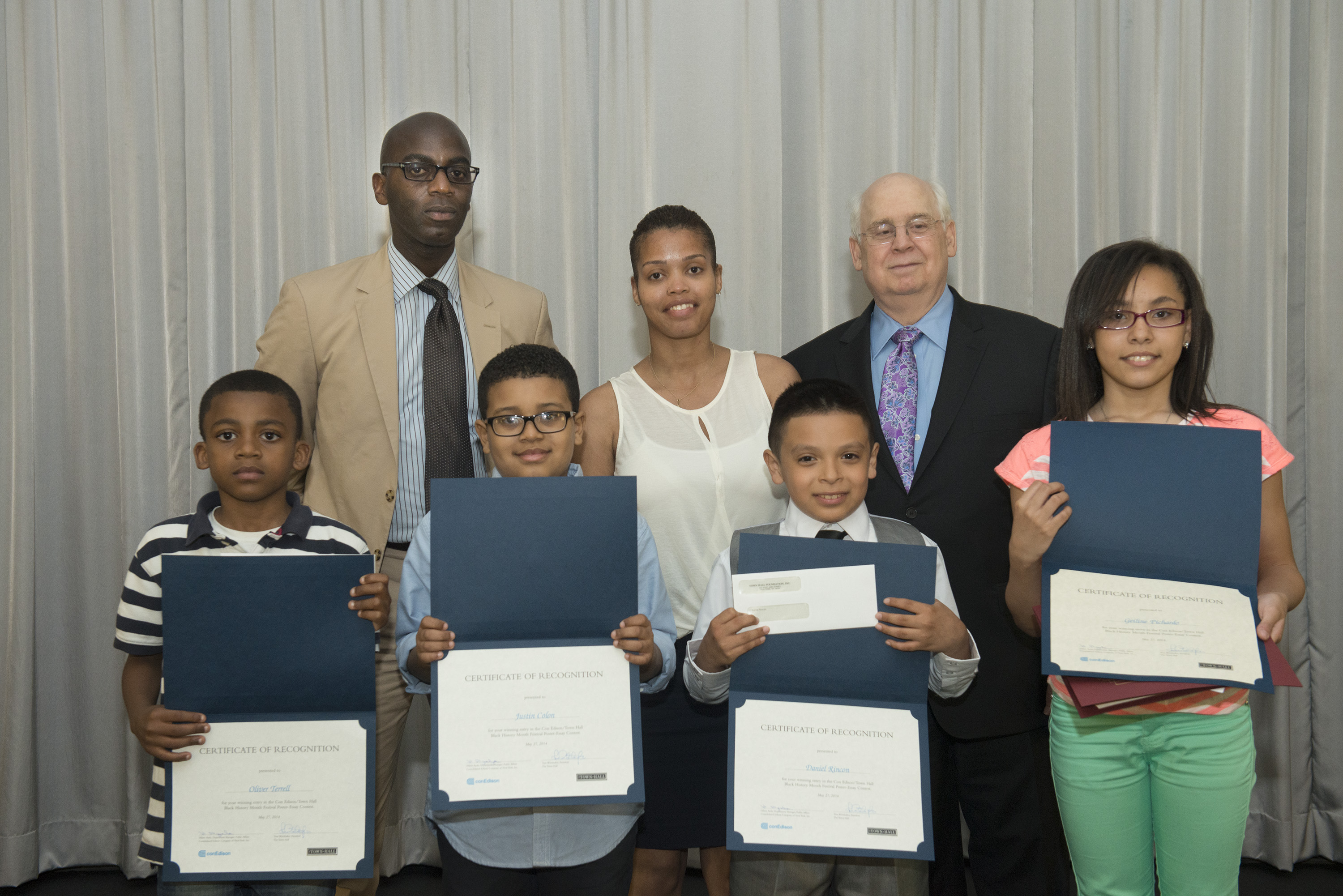 five nyc students win con edison town hall poster essay contest   first row oliver terrell grade 5 p s m s 31