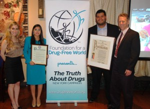 (L-R) Meghan Fialkoff, Northeast Executive Director of Foundation for a Drug Free World, Celia Dosamantes, Executive Assistant to Congresswoman Grace Meng, Lionel H. Morales, Director of Communications for Council Member Paul A. Vallone and Dr. Bernard Fialkoff, Founder of Fialkoff Dental Study Club & Queens Chapter of Foundation for a Drug Free World