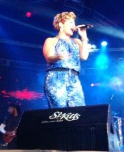 """Pictured: Tessanne Chin, Season 5 Winner of NBC's """"The Voice"""" performing on Saturday night, June 28, at St. Kitts Music Festival 2014."""