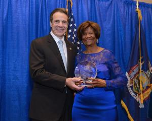 Gov Andrew Cuomo and Hazel Dukes (Photo Credit: Barry Mason)