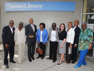 CAPTION (l to r): Sen. James Sanders Jr.; Friend of the Library Sarah Payne; NYC Council Member Ruben Wills; Assembly Member Vivian Cook; Friend of the Library Christine Hughes; Queens Library's Interim President and CEO Bridget Quinn-Carey; Library Trustee Adrienne Adams; Assistant Commissioner Oscar Gonzalez of the NYC Department of Design and Construction; Yvonne Reddick, Community Board 12.