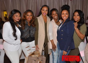 (l-r) Radio One personality Mz. Shyneka, Phaedra Parks, Monica Brown, Kandi Burruss, Rasheeda and Toya Carter