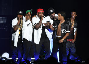 "INGLEWOOD, CA - OCTOBER 04:  Jadakiss, Styles P, Sheek Louch of The Lox, Sean ""Diddy"" Combs, Justin Combs, and Christian Combs perform onstage during the Bad Boy Family Reunion Tour at The Forum on October 4, 2016 in Inglewood, California.  (Photo by Kevin Winter/Getty Images for Live Nation)"