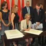 County Executive Laura Curran Signs Legislator Josh Lafazan's Food Allergy Restaurant Safety Ordinance at Ceremony
